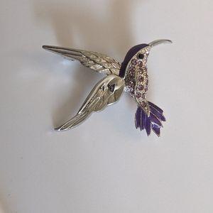 Vintage silverpurple rhinestone hummingbird brooch